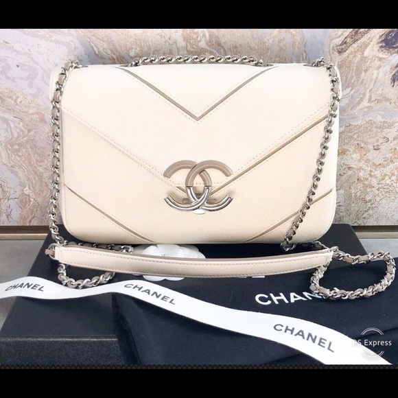c849c13db6e6e1 CHANEL Bags | Medium Macro White Caviar Chevron Flap Bag | Poshmark